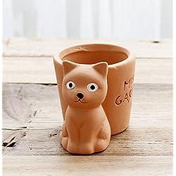 YOURNELO Cute Animal Small Flower Plant Pots Succulent Planters Vase (Cat)