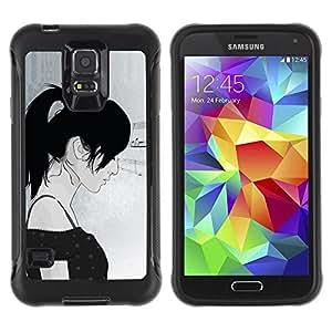 """Pulsar iFace Series Tpu silicona Carcasa Funda Case para Samsung Galaxy S5 V , Chica Perfil de la mujer Retrato del dibujo del arte"""""""