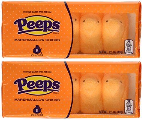 Orange Peeps Marshmallow Chicks Candy - 10 Ct. Pack (No Gluten ~ No Fat)