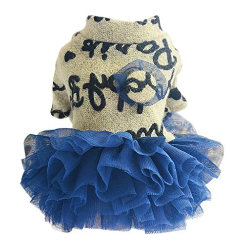 Jim-Hugh Dog Dresses Puppy Pet Clothes for Small Wedding Mesh Princess Dress for Dachshund Chihuahua Dogs Supplies ()
