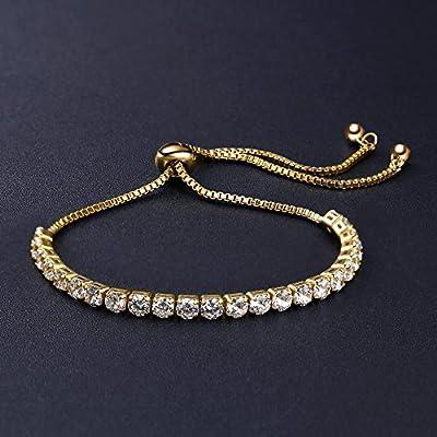 ASHMITA Fashion Adjustable Chain Bracelet for Women,Cubic Zirconia Rose Gold Gift Bracelet of Luxury Shining Jewelry