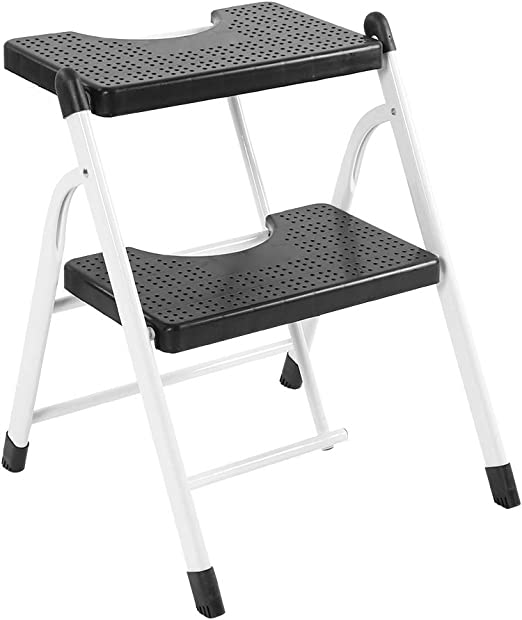 Cikonielf - Escalera plegable para escaleras, 2 peldaños de acero resistente, multifunción, práctica, taburete para escalera, antideslizante, capacidad 120 kg, blanco y negro: Amazon.es: Hogar