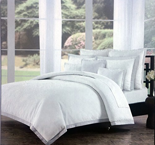 Duvet Cover Set Tahari Bedding 3 Piece King Size Cotton Solid White Textured Matelasse Basket Weave Pattern with Tan Edge Flange Border Stripe