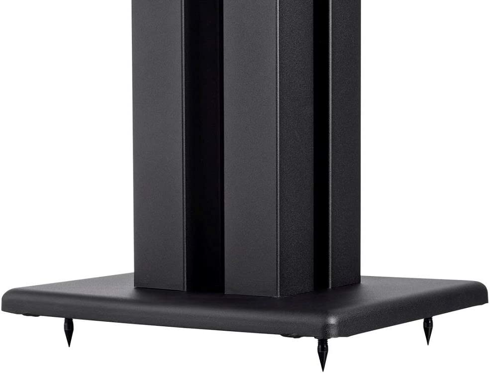 Monolith 24 Inch Speaker Stand (Each) - Black | Supports 75 lbs, Adjustable Spikes, Compatible With Bose, Polk, Sony, Yamaha, Pioneer and others