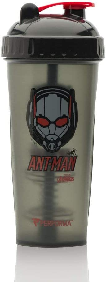 PERFORMA Perfect Shaker - Avengers Shaker Bottle Leak Free Protein Shaker Bottle With Actionrod Mixing Technology For All Your Protein Needs! Shatter Resistant & Dishwasher Safe (Antman)(28oz)