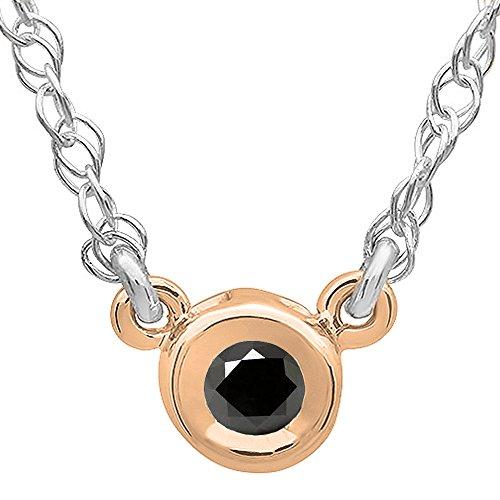ion 0.50 Carat (ctw) 14K Rose Gold Round Black Diamond Ladies Bezel Set Solitaire Pendant 1/2 CT ()