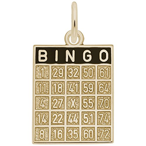 Bingo Card Charm In 14k Yellow Gold, Charms for Bracelets and Necklaces