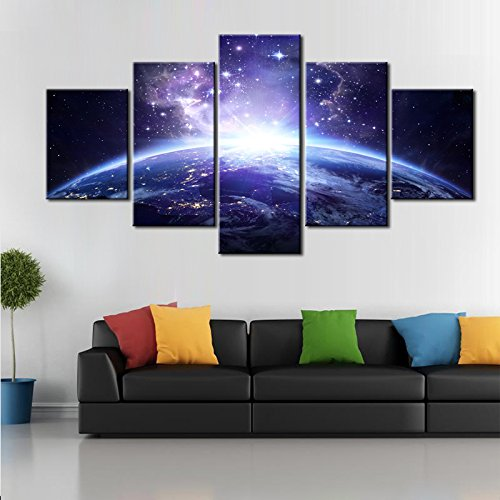 DINGDONG ART- Framed Galaxy Canvas Wall Art Painting Abstract Glowing Light On Planet Earth Modern Still Life Pics Ready to Hang for Home Decor 5 Pcs (30cmx40cmx2pcs,30cmx60cmx2pcs,30cmx80cmx1pcs) by DINGDONG ART