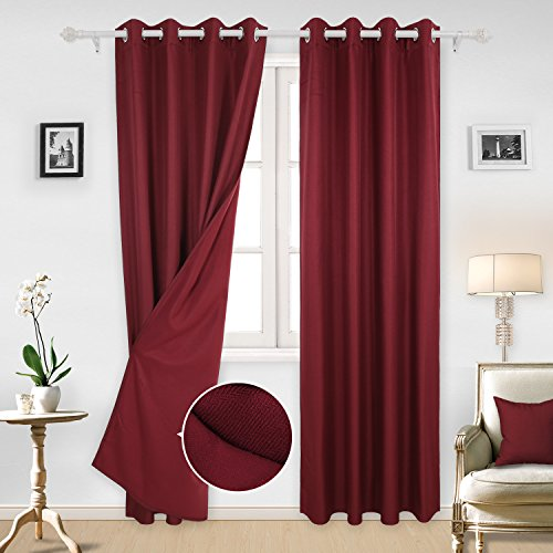 Deconovo Double Layer Composited Fleece Window Curtain Panels Thermal Insuated Curtains with Grommet Top for Children's Room 52x95 Inch Dark Red 1 Pair (Insuated)