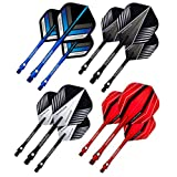 Red Dragon Dart Flights and Shafts Set - 5 sets of Standard Flights and 5 sets of Medium Aluminium Shafts Per Pack & Red Dragon Checkout Card