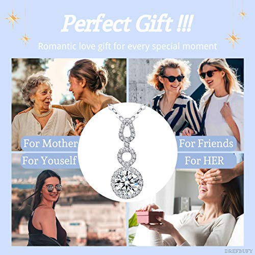 DREFBUFY Crystal 18K Gold Plated Love Knot Pendant Necklaces- 925 Silver Birthstone Pendant Necklace- 3A Cubic Zirconia Christmas Jewelry Gift for Women (loveknot,White)