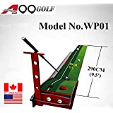 A99 Golf WP01 290cm putting mat with return track wood base, with putter rack