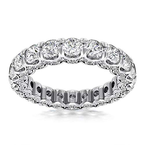 4.15 ct Ladies Round Cut Diamond Eternity Wedding Band Ring in 14 kt White Gold In Size 5