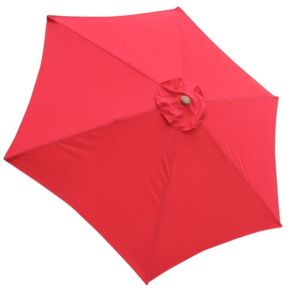 AMPERSAND SHOPS Replacement Cover for 9-Ft. 6-Rib Outdoor Patio Umbrella Canopy Sunshade Top (Red) by AMPERSAND SHOPS