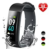 Jeestam Color Screen Fitness Tracker with Double Color Strap,Activity Tracker with Heart Rate Monitor Sleep Monitor,Waterproof Smart Watch Bracelet Pedometer Wristband for Android&iOS (Black-Grey)