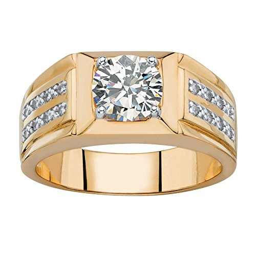 - Palm Beach Jewelry Men's Round and Pave White Cubic Zirconia 14k Gold-Plated Double Row Ring Size 11
