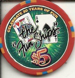$5 carnival the fun ships cruise line casino cruise chip obsolete rare ()