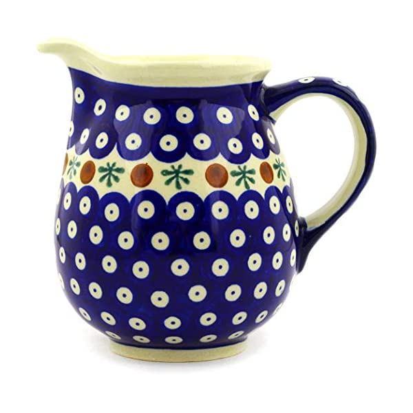 Polish Pottery Boleslawiec Jug, Medium, 0.85L or 1.5 Pints, in RED DOT pattern