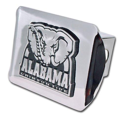 Alabama Crimson Tide Chrome Metal Hitch Cover with Chrome Elephant Logo