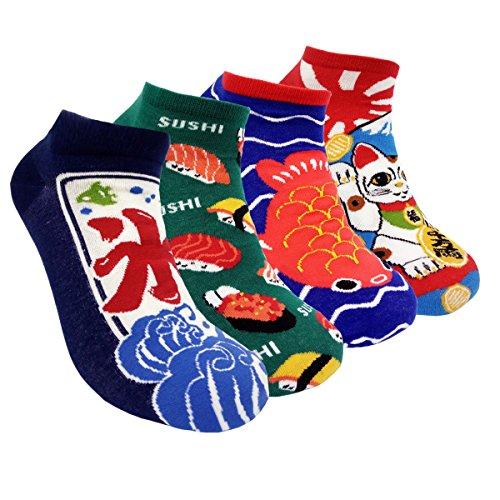 Japanese Style Women No Show Socks - HSELL Summer Low Cut Ankle Socks 4 Packs Cotton Liner Socks(Japanese 4 pack)