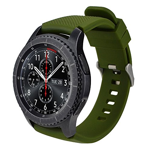 iBazal Gear S3 Watch Band 46mm,Gear S3 Frontier/Classic Band Soft Silicone Band Replacement Sport Strap, 22mm Watch Band for Samsung Gear S3 Frontier/Classic Men Women- Olive-Green