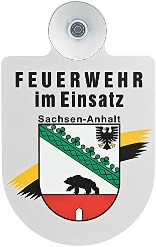 Paco Deutschland E K Feuerwehr Im Einsatz Kfz Aluschild Mit Saugnapf Und Bundesland Wappen Sachsen Anhalt Auto