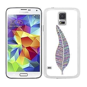 Funda carcasa para Samsung Galaxy S5 diseño pluma estampado de colores borde blanco