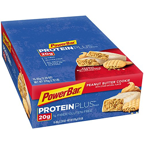 PowerBar Protein Plus Bars, Peanut Butter Cookie, 20g Protein,  2.29 Ounce (Pack of 15)