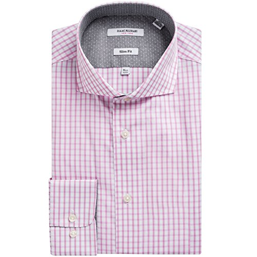 [Isaac Mizrahi Men's 71320 Slim Fit Check Dress Shirt - Pink - 16 4-5] (Sexy Fancy Dress Men)