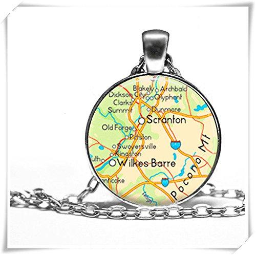 because meet you Glass pendant necklace, customizable picture,Scranton Wilkes Barre Pennsylvania Necklace Map ()