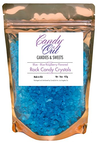 Blue Raspberry Rock Candy (CandyOut Blue Raspberry Rock Candy Crystals 1 Pound in in Sealed Stand Up Bag)