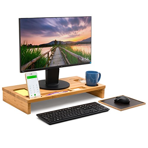 Bamboo Monitor Riser by Morvat with Mouse Pad | Perfect for Laptops and Computers | For Adults and Kids | The Most Convenient Way to Work and Play | Bamboo Wood
