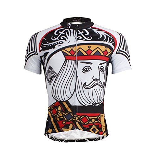 QinYing Poker Patterns Men Breathable Full Zipper Bicycle Cycling Jersey Top XL