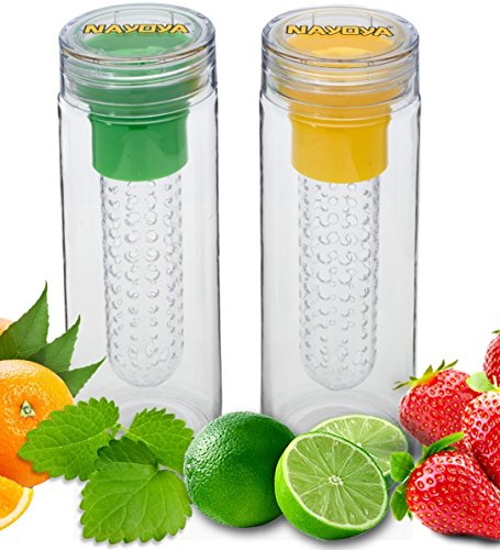Price comparison product image Set of 2 Nayoya Fruit Infused Infuser Water Bottles - 28 Ounce Leak Proof Tritan Plastic