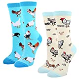 Women's Crazy Funny Crew Socks,Novelty Chicken Egg Hens Rooster Dress Socks,2 pack with Gift Box