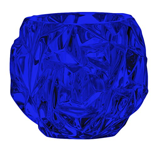 Beautiful Tiffany & Co Crystal Rock Cut Votive Candle Holder - Full Color Cobalt Blue - Additional Vibrant Colors Available by TableTop King