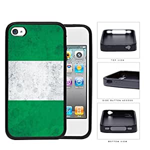 Nigerian Flag Grunge Surface Rubber Silicone TPU Cell Phone Case Apple iPhone 4 4s