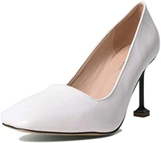 Pompe 9cm Stiletto Square Toe Pantent Cuir Chaussures à talons hauts Chaussures Chaussures Femmes Charmante Pure Color Ol Chaussures Casual Eu Taille 35-40