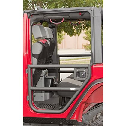 Image of Rugged Ridge 11509.11 Black Textured Rear Tube Doors for 2007-2018 Jeep Wrangler JKU 4 Door Models Armrests