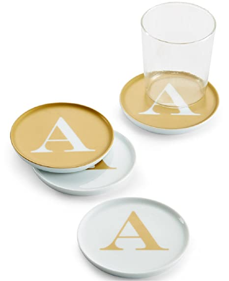 The Cellar Gold Initial Coasters Collection Porcelain Set of 4 Initial