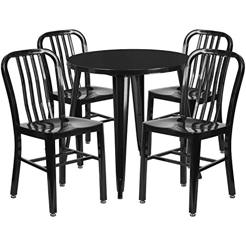 Flash Furniture 30'' Round Black Metal Indoor-Outdoor Table Set with 4 Vertical Slat Back Chairs (Bistro Set 30')