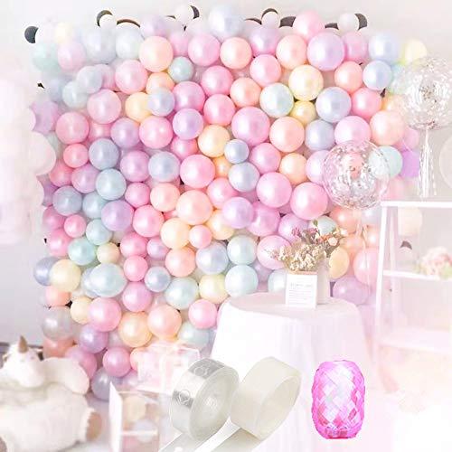 Peal Pastel Letax Balloon Garland Arch kit 75pcs Peal Balloon Pink White Purple Silver Champagne Balloon Strip Tape 16ft Balloon dots 100 With Balloon Ribbon