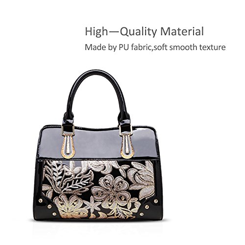 Handbags Patent Waterproof Pattern Women Floral amp;Doris Leather Black Nicole Tote B SEa1Hnqqw
