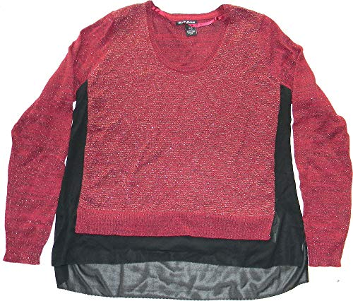 (DKNY Jeans Size M Pullover Sweater Red/Black Combo)