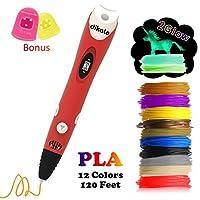3D Pen with PLA Filament Refills - Dikale 07A【est Version】 3D Drawing Printing Pen Bonus 12 Colors 120 Feet PLA 250 Stencils eBooks for Kids Adults Arts Crafts Model DIY, Non-Clogging by dikale