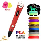 dikale 3D Pen with PLA Filament Refills 07A【Newest Version】 3D Pen Bonus 12 Colors 120 Feet PLA 250 Stencils eBooks for Kids Adults Arts Crafts Model DIY, Non-Clogging