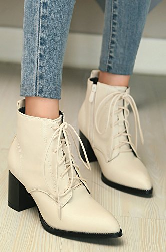 Femme Mode Bout Beige Pointu Aisun Bottines Chunky Cheville gCqnZqfdw