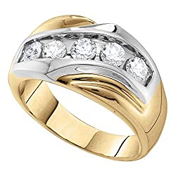 14KT Yellow Gold Men's Diamond Single Row Two-tone Large Band Ring 1.00 Cttw