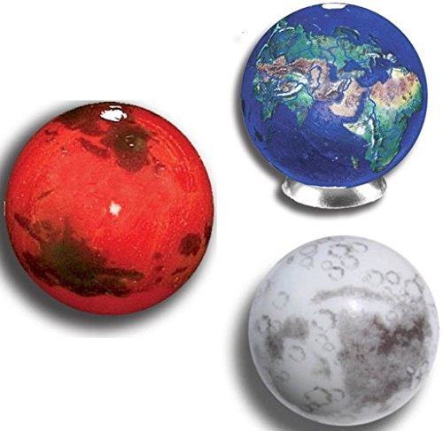"Unique & Custom {7/8"", 1"" Inch} Set Of 3 Big ""Round"" Opaque Marbles Made of Glass for Filling Vases, Games & Decor w/ Simple Educational Planets & Moon Kid's Design [Assorted Colors] w/ Stands & Pouch"
