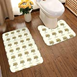 HUNANing 2 Piece Plush Large Bathroom Rug Mat Set, Funny Gateau Watercolour Art Quirky Cake Design,Extra Soft and Absorbent Rugs,Toilet Set